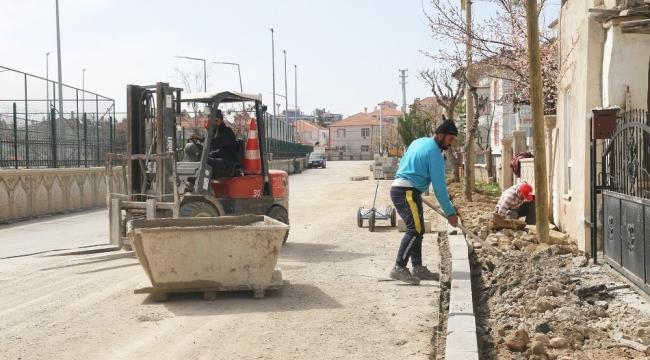 Karaman Belediyesinde kaldırım çalışması