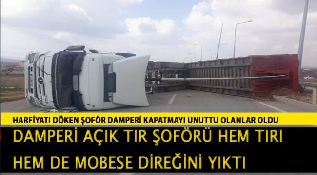 Konya-Karaman Yolunda Tır yan yattı :1 yaralı