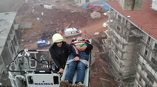 Hadim'de Kırılan vinçte yaralanan operatörü itfaiye kurtardı